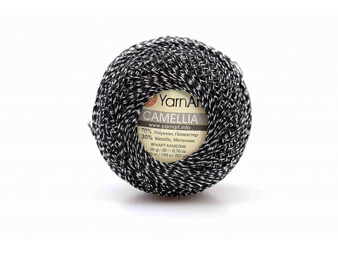 příze Camellia 412 černá se stříbrnou