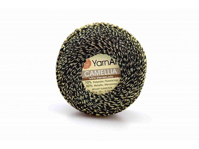příze Camellia 413 černá se zlatou