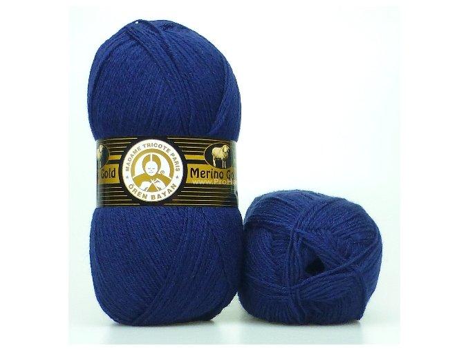 příze Merino Gold 019 tmavě modrá
