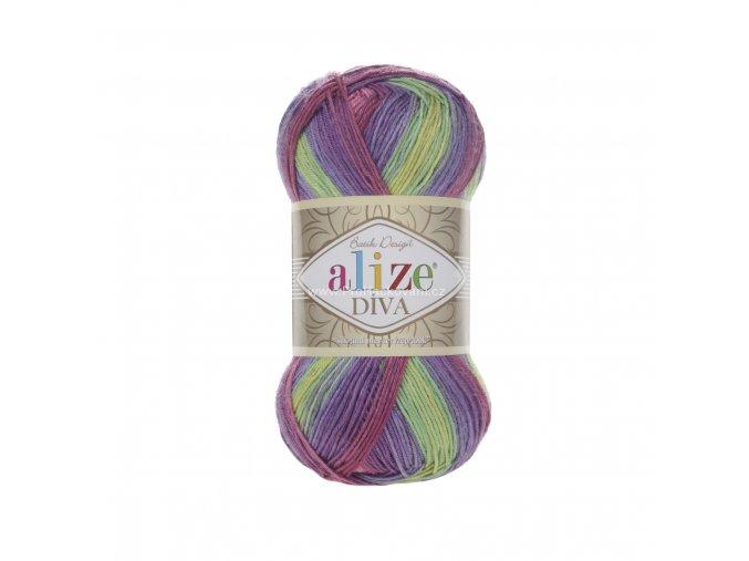 příze Diva batik 3241 žlutá, růžová, fialová