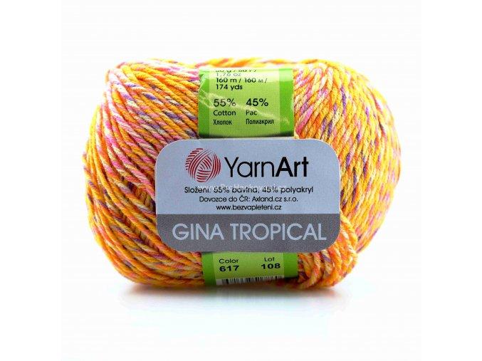 příze Gina Tropical 617 oranžová, fialová, růžová