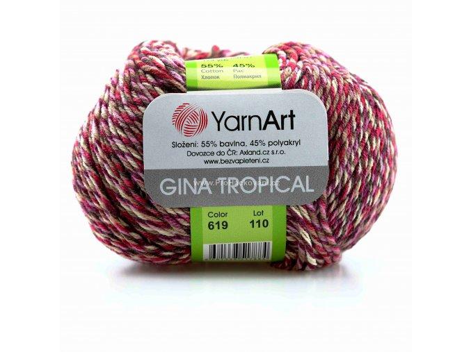 příze Gina Tropical 619 fialová, růžová, hnědá, krémová