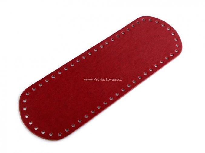 Koženkové dno na kabelku 10 x 30 cm červené