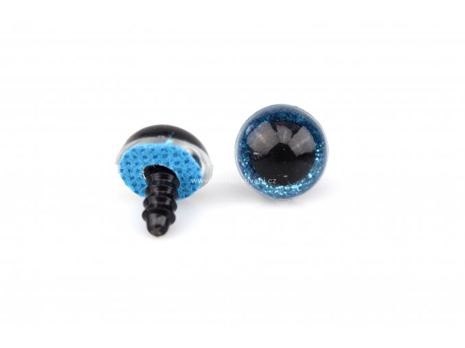 Oči bezpečnostní třpytivé modré, 14 mm