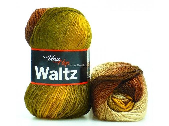 příze Waltz 5710 hořčicová, hnědá a béžová