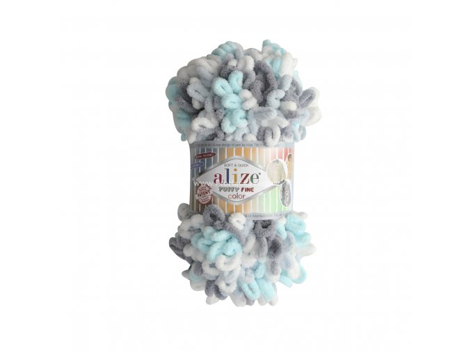 Puffy fine color 5939 bílá, tyrkysová, šedá
