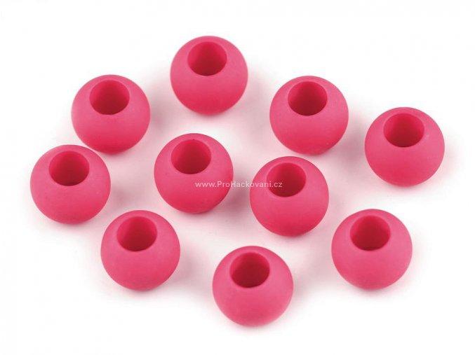 Plastový korálek Ø 10x12 mm tmavě růžový