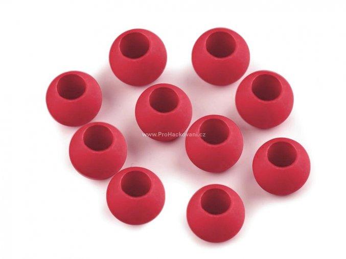 Plastový korálek Ø 10x12 mm červený