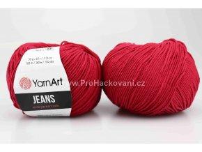 příze YarnArt Jeans 51 tmavě červená