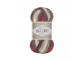 příze Diva batik 4574 Červená, fialová, šedá, krémová