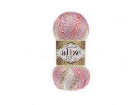 příze Diva batik 2807 Krémová, světle růžová, světle fialová, béžová