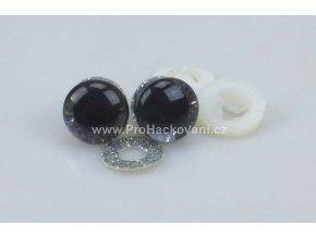 Oči bezpečnostní třpytivé stříbrné, 12 mm