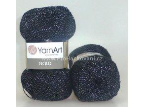 příze Gold 13284 černá se stříbrnou nitkou