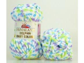 příze Dolphin Baby Colors 80422 bílá, tyrkys, zelenkavá, fialová