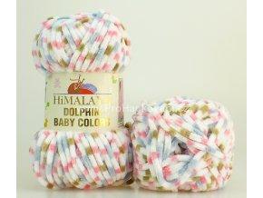 příze Dolphin Baby Colors 80413 bílá, růžová, hnědá, modrošedá