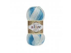 příze Diva batik 2130 Variace modré a krémová