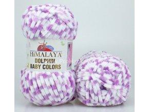 příze Dolphin Baby Colors 80419 bílá a fialová