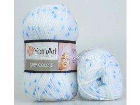 příze Baby Color 5134 bílá s modrou