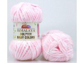 příze Dolphin Baby Colors 80424 pastelově růžová s bílou