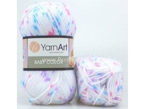 příze Baby Color 112 bílá s růžovou, modrou a fialovou