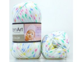 příze Baby Color 267 bílá se žlutou, modrou, zelenou, růžovou