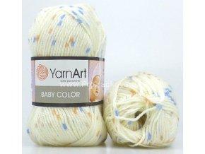 příze Baby Color 268 krémová s modrou a měděnou