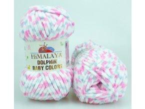 příze Dolphin Baby Colors 80418 bílá, růžová, světle šedá