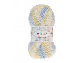 příze Baby Best Batik 6925 bílá, žlutá, světle modrá