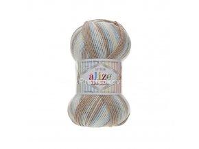 příze Baby Best Batik 6657 krémová, modrá, hnědá