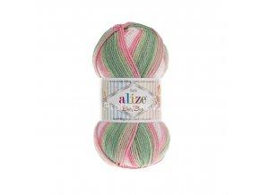 příze Baby Best Batik 7067 bílá, růžová, zelená