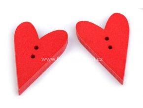 Knoflík srdce, dřevěný 21x33 mm červený