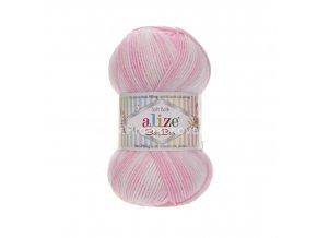 příze Baby Best Batik 6660 bílá, růžová