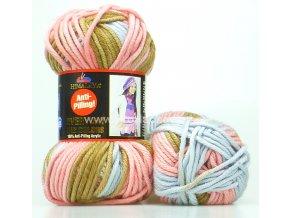 Příze Everyday Big Colors 71801 růžová s hnědou a šedou