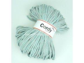 šňůry Cordy 5 mm mentol a šedá melange