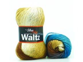 příze Waltz 5706 petrol, hnědá, krémová
