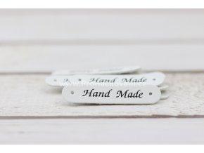 Hand Made, oválná koženková cedulka bílá