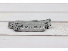 Hand Made, koženková cedulka Motýl šedý