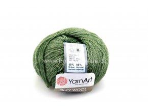 příze Silky wool 346 khaki