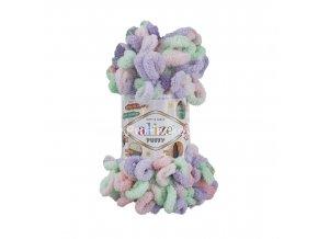 příze Puffy color 5938 růžová, fialová, zelená