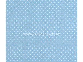 Bavlněná látka světle modrá s puntíky