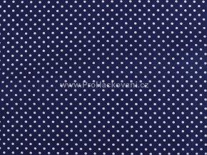 Bavlněná látka tmavě modrá s puntíky