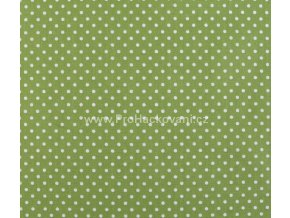 Bavlněná látka zelená s drobnými puntíky