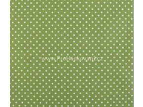 Bavlněná látka zelená s puntíky