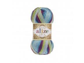 příze Diva batik 6790 modrá, žlutozelená, fialová