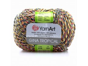 příze Gina Tropical 610 černá, šedá, oranžová