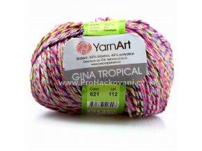 příze Gina Tropical 621 fialová, zelená, modrá, oranžová