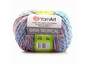 příze Gina Tropical 618 variace modré, růžová, oranžová