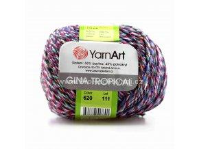 příze Gina Tropical 620 černá, mentol, červená, bílá, oranžová, růžová, šedá