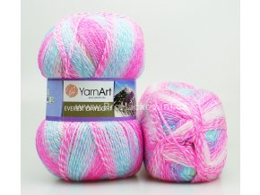 příze Everest Daylight 6043 ostrá růžová, tyrkys, zelená