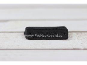 Hand Made koženková cedulka černá se srdíčkem